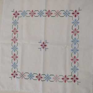 Vintage Embroidery Cross Stitch Square Tablecloth